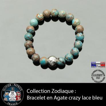 Bracelet agate crazy lace bleu et son signe astrologique boule zircon
