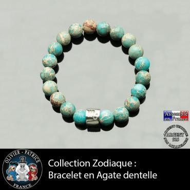 Bracelet agate dentelle et son signe astrologique en tube en argent