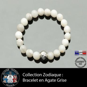 Bracelet agate grise et son signe astrologique boule zircon