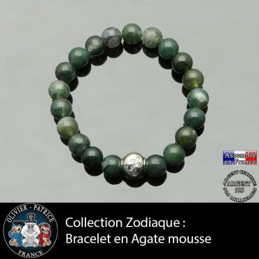 Bracelet agate mousse et son signe astrologique boule zircon