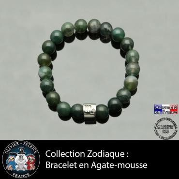 Bracelet en agate mousse et son signe astrologique e, forùe de tube