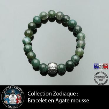 Bracelet homme en agate mousse et son signe astrologique boule pour homme