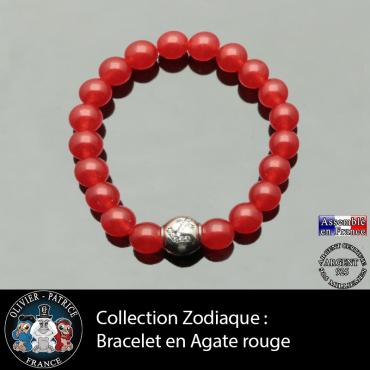 Bracelet agate rouge et son signe astrologique boule zircon