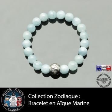 Bracelet aigue marine et son signe astrologique boule zircon