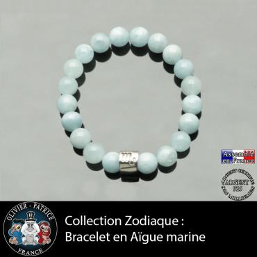 Bracelet en aigue marine et son signe astrologique en forme de tube