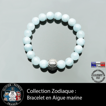 Bracelet pour homme en aigue marine et son signe astrologique boule homme