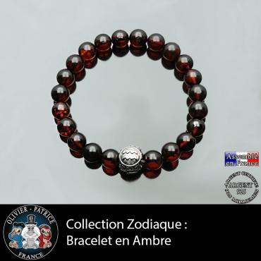 Bracelet homme en ambre et son signe astrologique boule pour homme