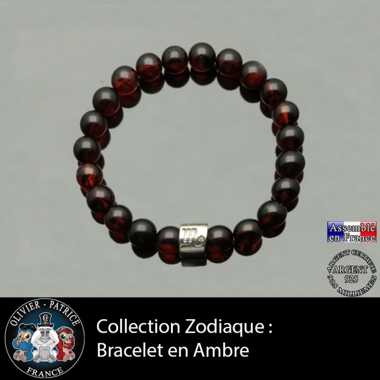 Bracelet ambre et son signe astrologique boule zircon