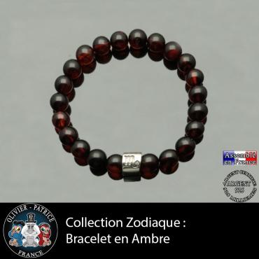 Bracelet en ambre et son signe astrologique en forme de tube