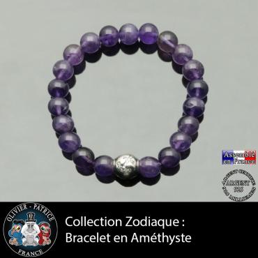 Bracelet améthyste et son signe astrologique boule zircon