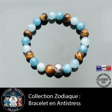 Bracelet du zodiaque 3 pierre antistress anti anxiete anti depression aigue marine calcedoine bleue oeil de tigre