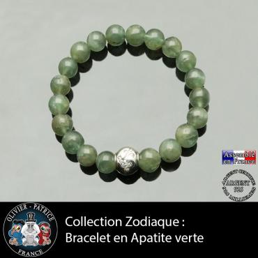 Bracelet apatite verte et son signe astrologique en argent 925 boule zircon