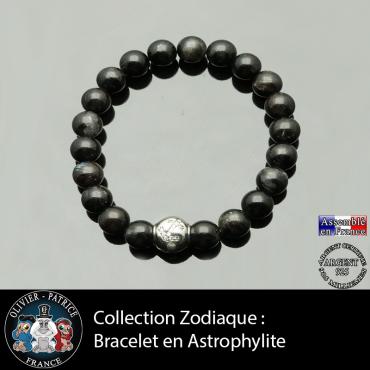 Bracelet astrophyllite et son signe astrologique en argent 925 boule zircon