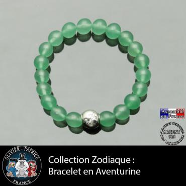 Bracelet aventurine et son signe astrologique boule zircon