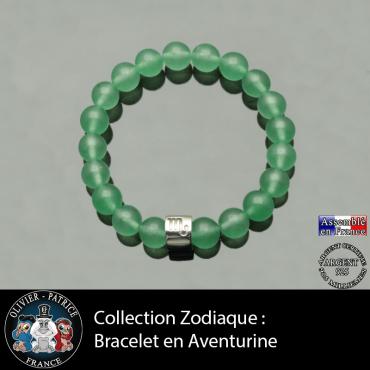 Bracelet en aventurine et son signe astrologique en forme de tube