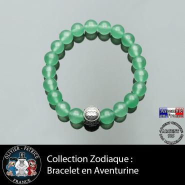 Bracelet homme en aventurine et son signe astrologique boule pour homme