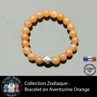 Bracelet aventurine orange et son signe astrologique boule zircon