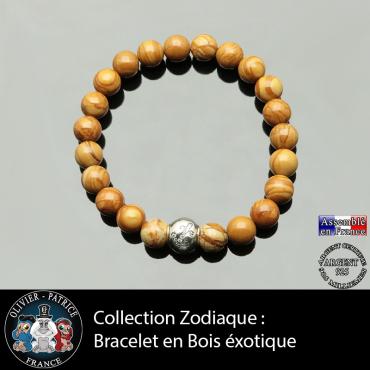Bracelet bois exotique et son signe astrologique boule zircon