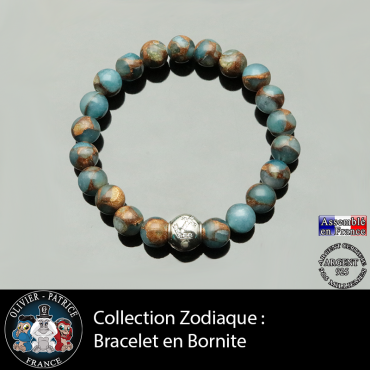 Bracelet bornite bleue et or et son signe astrologique boule zircon