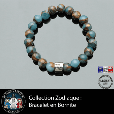 Bracelet en bornite bleue et or et son signe astrologique en forme de tube