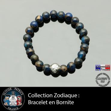 Bracelet bornite bleue foncé et or et son signe astrologique boule zircon