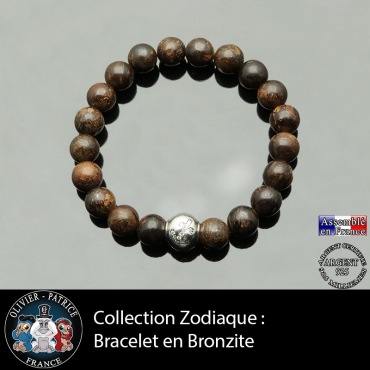 Bracelet bronzite et son signe astrologique boule zircon