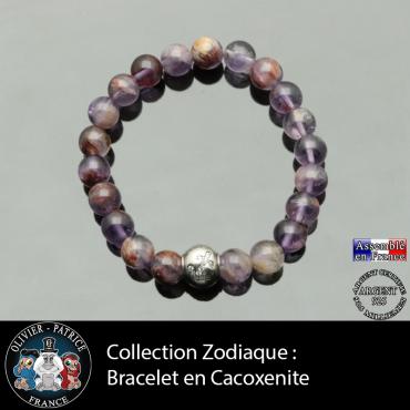Bracelet cacoxénite et son signe astrologique boule zircon