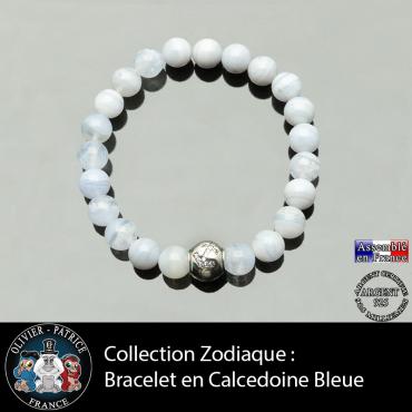 Bracelet calcedoine bleue et son signe astrologique boule zircon