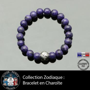Bracelet charoïte de Russie et son signe astrologique boule zircon