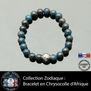 Bracelet chrysocolle afrique et son signe astrologique boule zircon