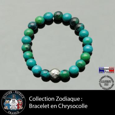 Bracelet chrysocolle et son signe astrologique boule zircon