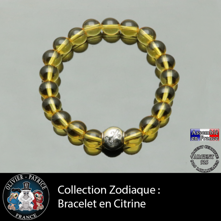 Bracelet citrine et son signe astrologique en argent 925 boule zircon