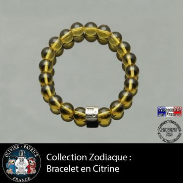 Bracelet en citrine et son signe astrologique tube en argent 925