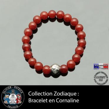 Bracelet cornaline et son signe astrologique boule zircon