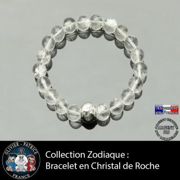 Bracelet cristal de roche et son signe astrologique boule zircon