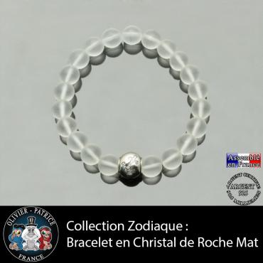Bracelet cristal de roche opaque et son signe astrologique boule zircon