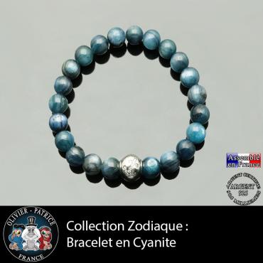Bracelet cyanite ou kyanite bleue et son signe astrologique boule zircon en argent 925