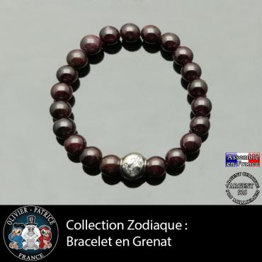 Bracelet grenat et son signe astrologique boule zircon