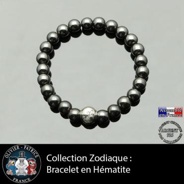 Bracelet hématite et son signe astrologique boule zircon argent 925