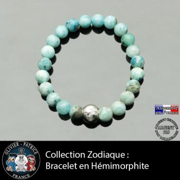 Bracelet hémimorphite et son signe astrologique boule zircon