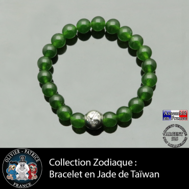Bracelet jade de Taiwan et son signe astrologique boule zircon