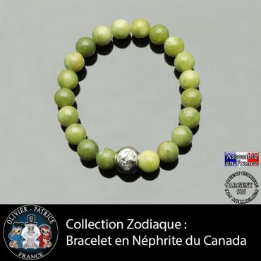 Bracelet jade néphrite du Canada et son signe astrologique boule zircon