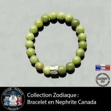Bracelet en jade néphrite du Canada et son signe astro tube en argent 925