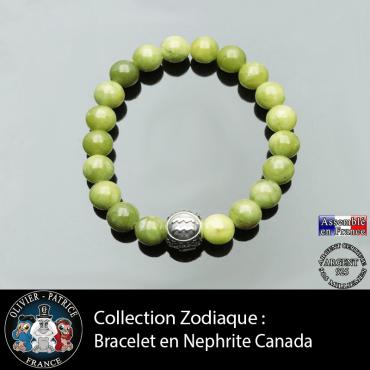 Bracelet homme en jade néphrite du Canada et son signe astrologique boule homme 3 faces
