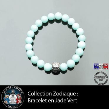 Bracelet homme en jade vert et son signe astrologique boule 3 faces pour homme