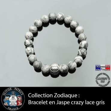 Bracelet jaspe crazy lace gris pierre naturelle avec votre signe astrologique gravé sur boule argent 3 faces