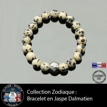 Bracelet jaspe dalmatien et son signe astrologique boule zircon