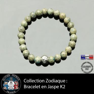 Bracelet jaspe k2 et son signe astrologique boule zircon