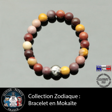 Bracelet jaspe mokaïte et son signe astrologique boule zircon