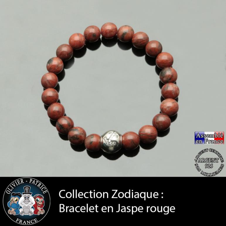 Bracelet jaspe rouge et son signe astrologique boule zircon